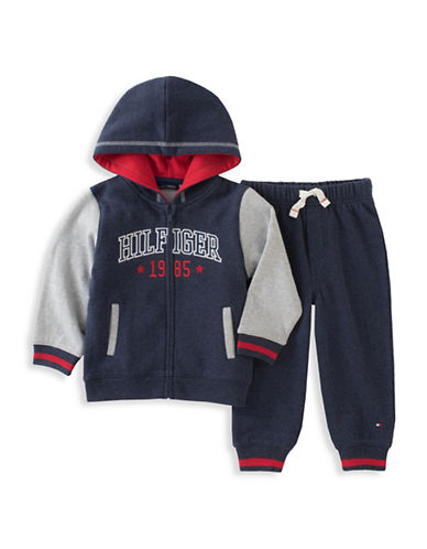 Tommy Hilfiger Two-Piece Hoodie Set-BLUE-24 Months