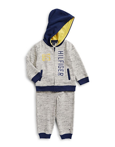 Tommy Hilfiger Two-Piece Fleece Hoodie and Sweatpants Set-NAVY-12 Months