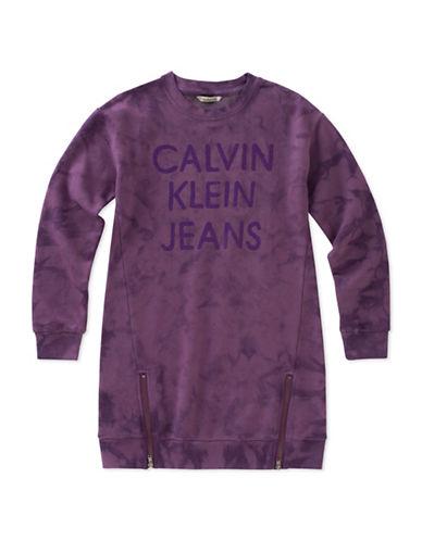 Calvin Klein Zip French Terry Sweater Dress-VIOLET-Medium