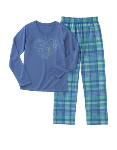 Calvin Klein Two-Piece Plaid Pyjama Set-BLUE-14-16