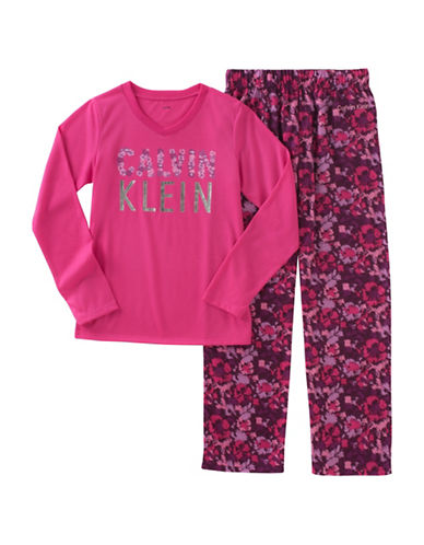 Calvin Klein Two-Piece Floral Pyjama Set-PURPLE-10-12