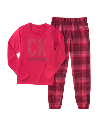 Calvin Klein Two-Piece Plaid Pyjama Set-RED-10-12