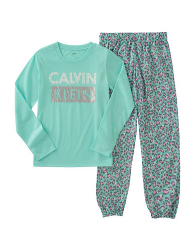 Calvin Klein Two-Piece Printed Pyjama Set-GREEN-10-12