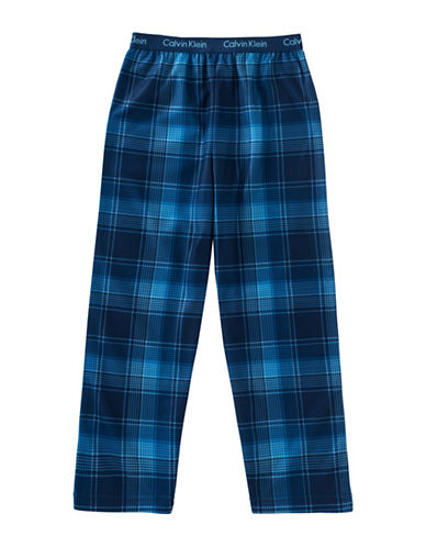 Calvin Klein Plaid Jersey Pants-BLUE-14-16