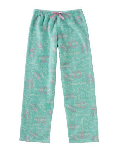 Calvin Klein Plush Logo Print Pyjama Pants-TEAL-10-12