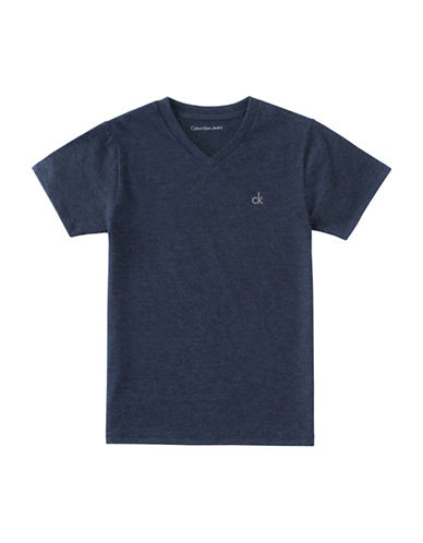 Calvin Klein Boys V-Neck Cotton Tee-BLUE-Small