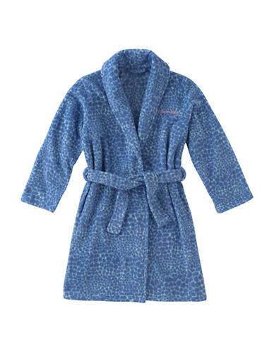 Calvin Klein Plush Print Robe-BLUE-5-6