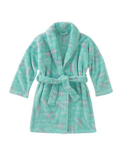 Calvin Klein Plush Print Robe-GREEN-7-8