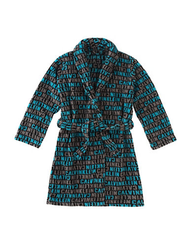 Calvin Klein Plush Logo Print Robe with Belt-BLUE-14-16