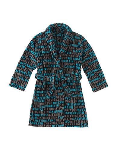 Calvin Klein Plush Logo Print Robe with Belt-BLUE-10-12