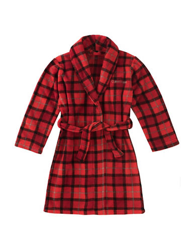 Calvin Klein Plush Plaid Robe with Belt-RED-14-16