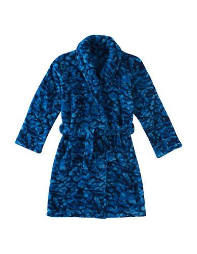 Calvin Klein Plush Camouflage Print Robe-BLUE-10-12