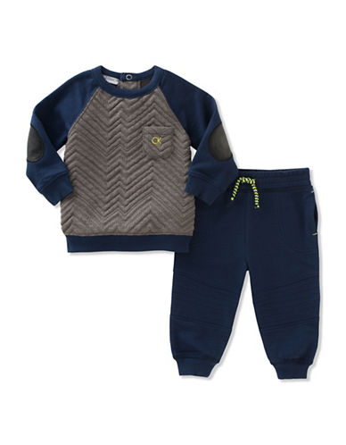 Calvin Klein French Terry Quilted Top and Jogger Pants Set-NAVY/GREY-24 Months