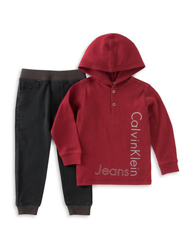 Calvin Klein Two-Piece Hood Jacket and Pants-RED-4
