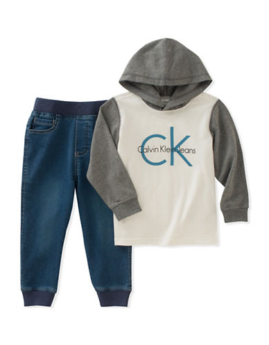 Calvin Klein Two-Piece Hoodie and Denim Jogger Pants Set-BLACK-24 Months