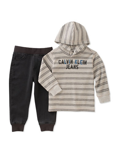 Calvin Klein Two-Piece Thermal Knit Stripe Hoodie and Pants Set-BLUE-12 Months
