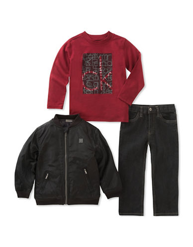 Calvin Klein Three-Piece Zip-Up Jacket, Long-Sleeve Tee and Denim Set-ASSORTED-3T