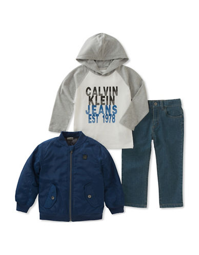 Calvin Klein Three-Piece Zip-Up Jacket, Raglan Hoodie and Denim Set-ASSORTED-4T