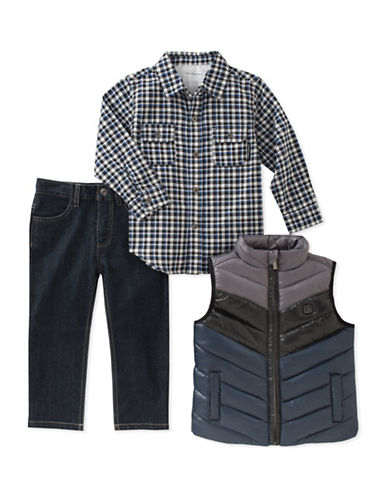 Calvin Klein Three-Piece Quilted Vest, Shirt and Denim Set-ASSORTED-4T