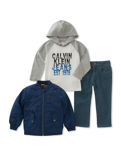 Calvin Klein Three-Piece Zip-Up Jacket, Raglan Hoodie  and Denim Set-ASSORTED-4