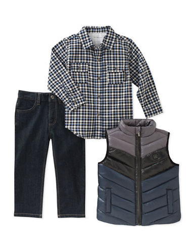 Calvin Klein Three-Piece Quilted Vest, Shirt and Denim Set-ASSORTED-4