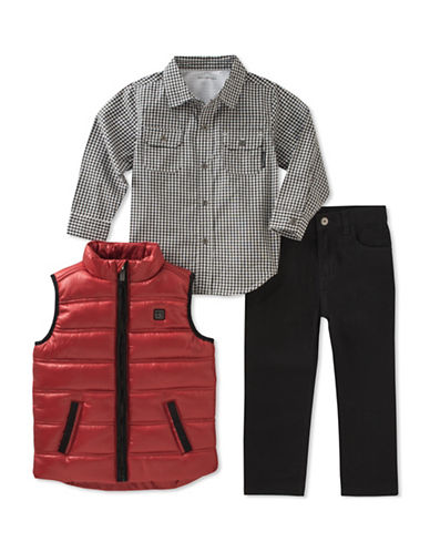 Calvin Klein Three-Piece Quilted Vest,  Shirt and Twill Jeans Set-ASSORTED-4