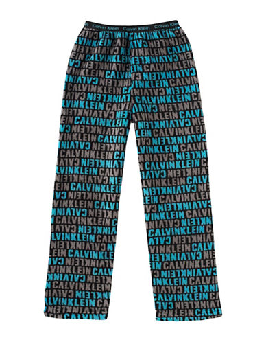 Calvin Klein Plush Logo Print Pyjama Pants-BLACK-14-16