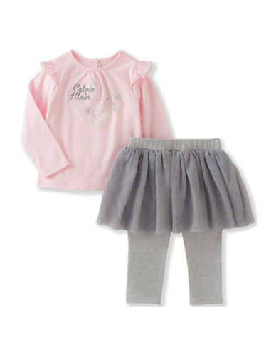 Calvin Klein Two-Piece Top and Skirt-Leggings Set-PINK-24 Months