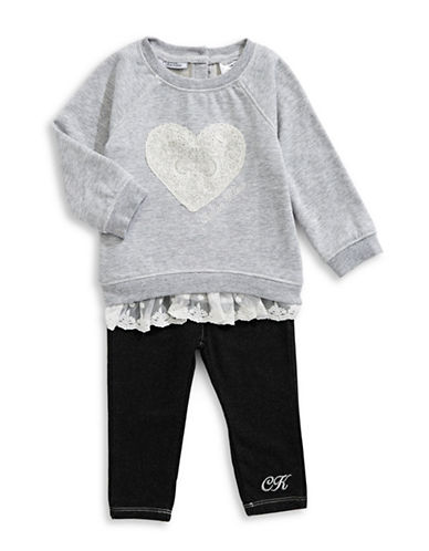 Calvin Klein Sweatshirt and Skinny Jeans Set-GREY-12 Months