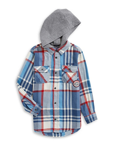 Tommy Hilfiger Hooded Flannel Cotton Shirt-BLUE-3