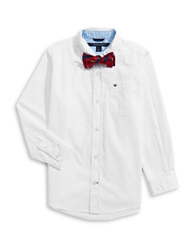 Tommy Hilfiger Plain Cotton Collared Shirt-WHITE-3