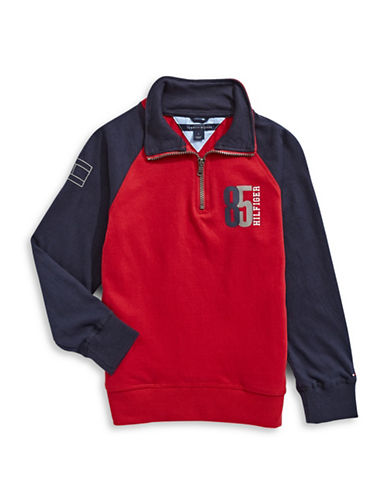Tommy Hilfiger Quarter-Zip Raglan Pullover-RED-2