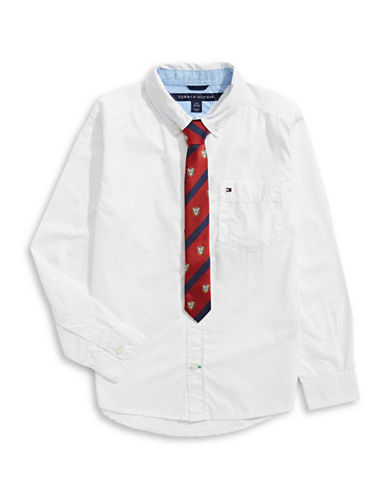 Tommy Hilfiger Two-Piece Denim Collared Shirt and Tie Set-WHITE-Large