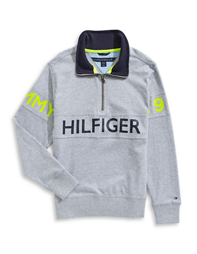 Tommy Hilfiger Quarter-Zip Sweater-GREY-Large