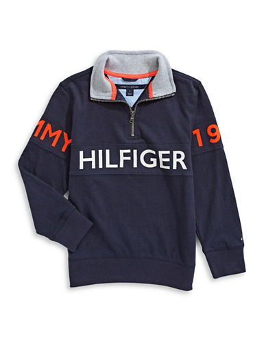 Tommy Hilfiger Quarter-Zip Sweater-BLUE-Large