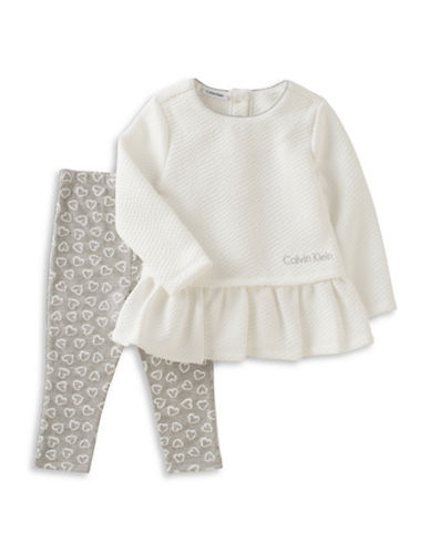 Calvin Klein Two-Piece Peplum Top and Leggings Set-WHITE-18 Months