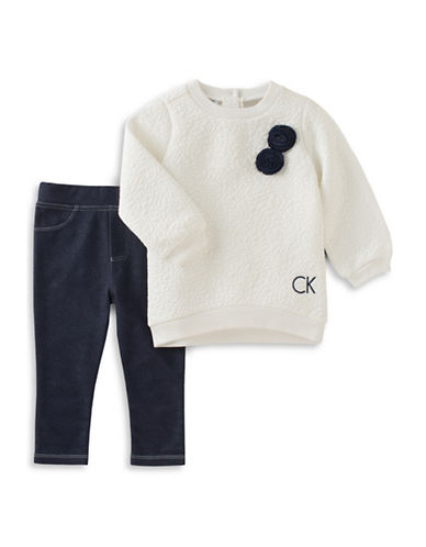 Calvin Klein Double Knit Sweatshirt and Denim Leggings Set-WHITE/BLACK-18 Months
