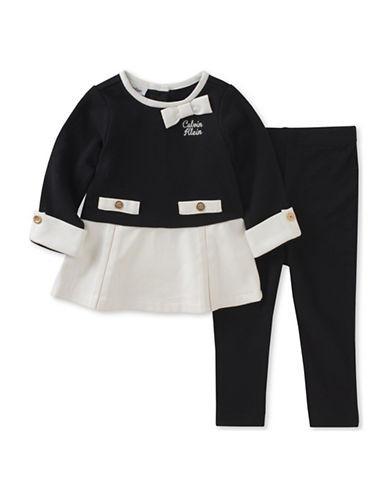 Calvin Klein Two-Piece Bow Marled Sweatshirt and Leggings Set-BLACK-12 Months