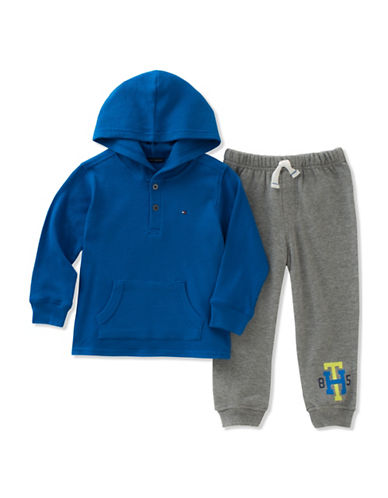 Tommy Hilfiger Two-Piece Waffle-Knit Thermal Hoodie and Pants Set-BLUE/GREY-24 Months