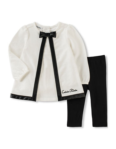 Calvin Klein Two-Piece Top and Leggings Set-BLACK-18 Months