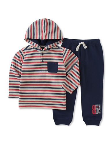 Tommy Hilfiger Two-Piece Fleece and Pants Set-RED-12 Months