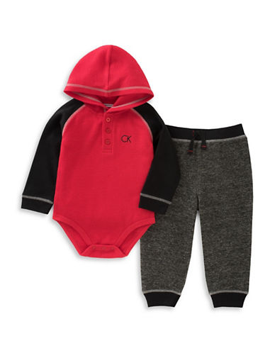 Calvin Klein Two-Piece Bodysuit and Fleece Pants Set-RED/BLACK-18 Months