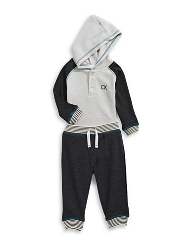 Calvin Klein Two-Piece Thermal and Fleece Bodysuit Set-GREY-24 Months 89263790_GREY_24 Months