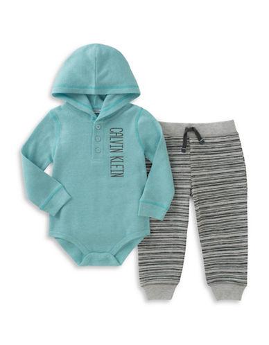 Calvin Klein Two-Piece Logo Bodysuit and Fleece Pants Set-MULTI-COLOURED-12 Months