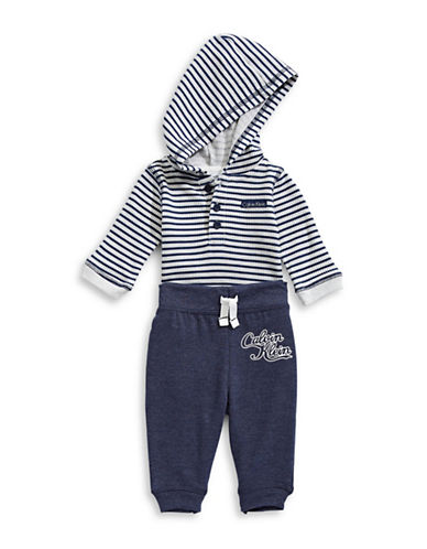 Calvin Klein Two-Piece Hooded Bodysuit and Pants Set-BLUE-0-3 Months