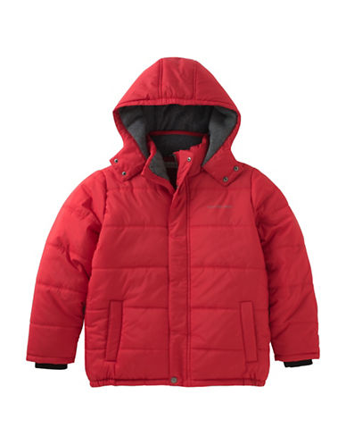 Calvin Klein Eclipse Hooded Bubble Jacket-RED-Small