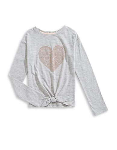 Calvin Klein Heart Front Tie Tee-LIGHT GREY-Large