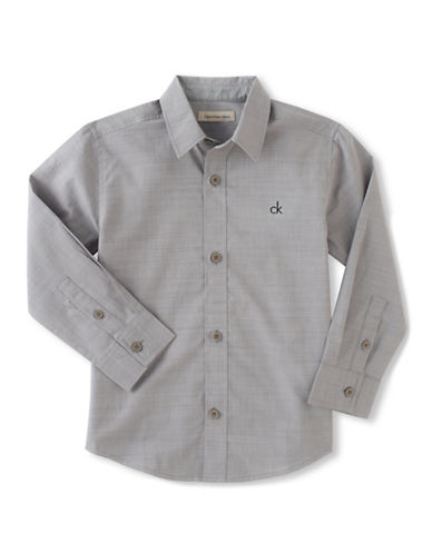 Calvin Klein Slub Chambray Button Shirt-GREY-Medium