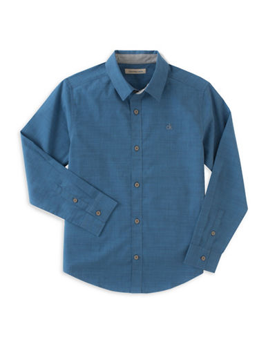 Calvin Klein Slub Chambray Button Shirt-BLUE-Medium