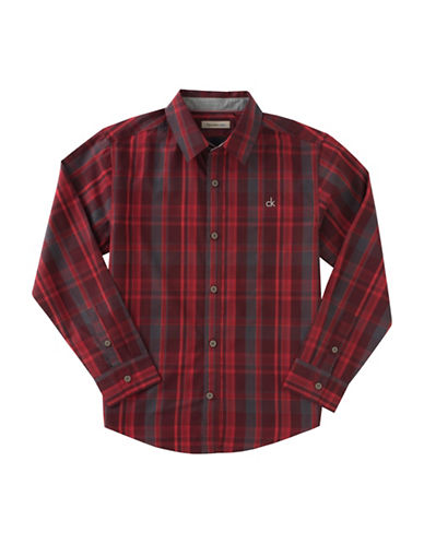 Calvin Klein Dusk Plaid Shirt-RED-Medium
